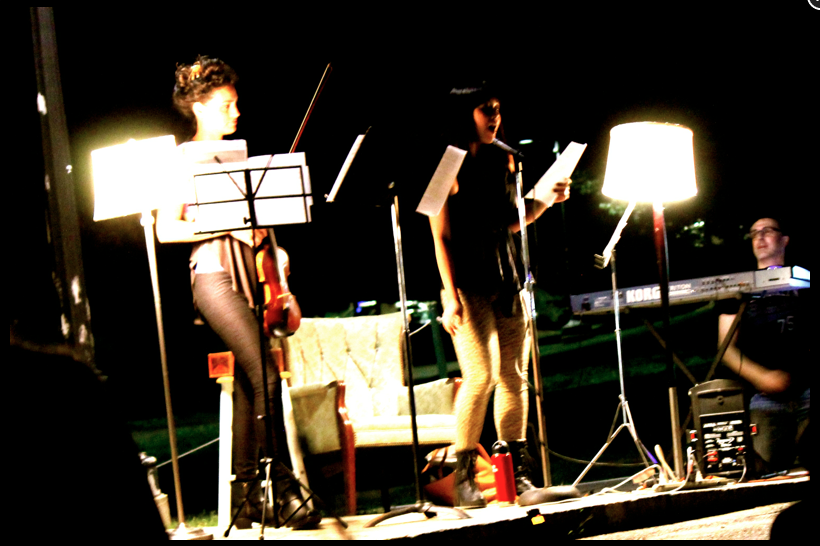 Dawson performs some of her songs at a Pop-up Concert. [l to r: Rosa Gilmore, Teirra Kamolvattanavith, and Mike Yionoulis]
